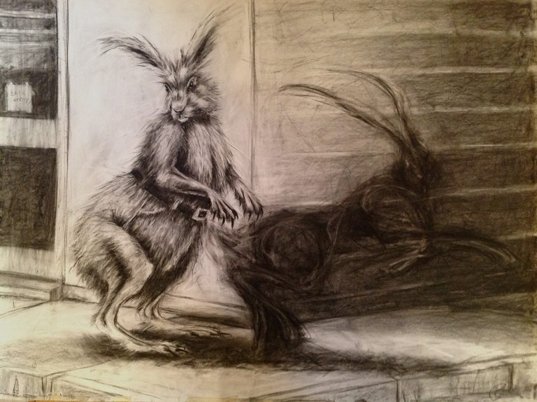 black and white charcoal drawing of hare on street