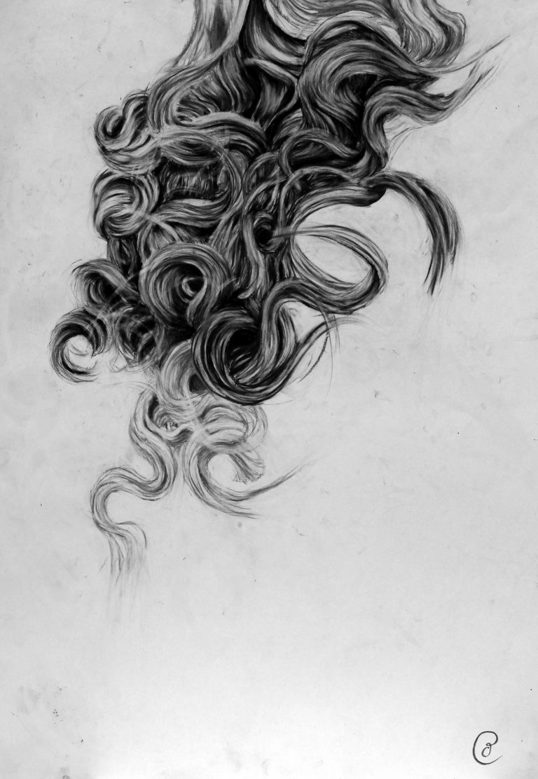 black and white charcoal drawing of curly hair