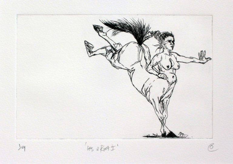 black and white etching of female centaur