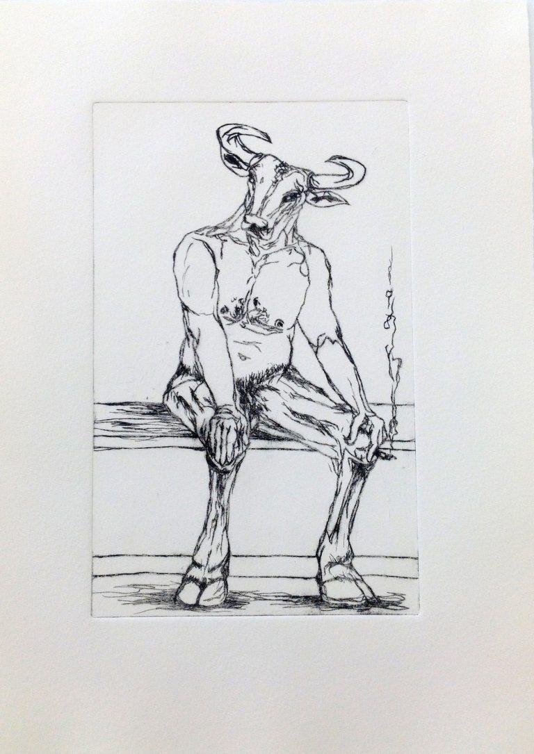 black and white etching of minotaur smoking