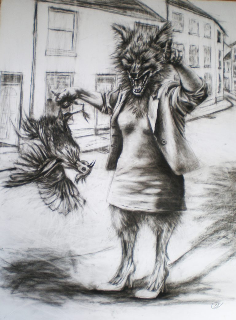 large black and white charcoal drawing of fox woman rooster