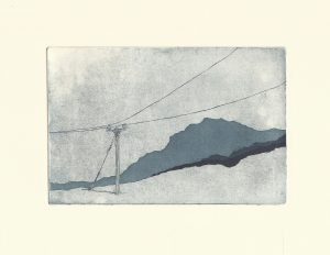 black and white etching, landscape, mountain, simple