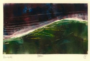 colourful, monoprint, landscape, mountain, stone, rock, Irish landscape