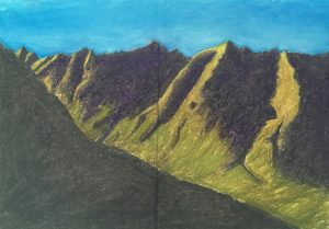 colourful landscape, chalks, pastels, paper, mountains,sky, Iceland