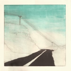 black and white etching, landscape, mountain, road, simple