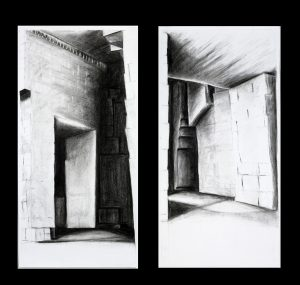 large black and white drawings, diptych, quarry, caves