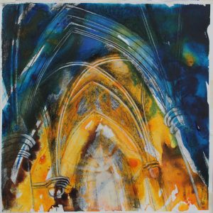 colourful Acrylic ink and charcoal on paper drawing, interior, church, gothic