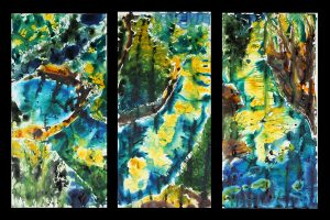 large colourful pen acrylic ink paintings, triptych, river, foliage, sunlight