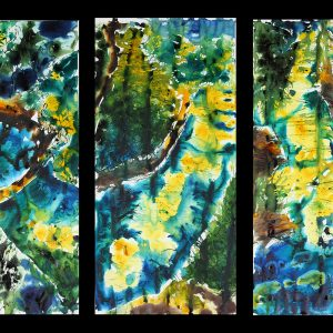 plein air nature painting blue, green, yellow