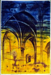 large colourful Acrylic ink and charcoal on paper drawing, interior, church, gothic