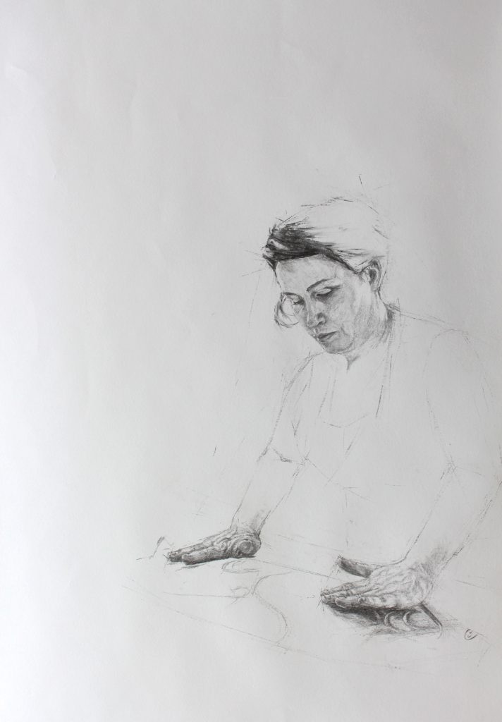 Charcoal Drawing - Portrait - Woman Working - Orlaith Cullinane
