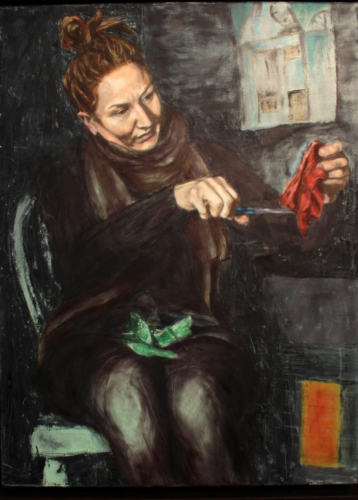 Oil Painting - Portrait - woman sewing - Orlaith Cullinane