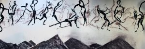 charcoal, paper, chalk, black and white, large drawing, dancer, landscape