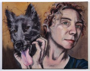 oil painting, colourful, self portrait, animal, dog, portrait