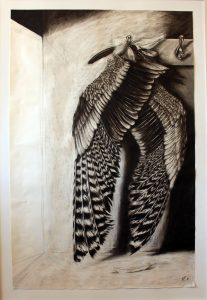large black and white drawing, charcoal, wings, myth