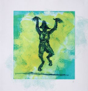 monoprint, colourful, goat, satyr, story, artist book