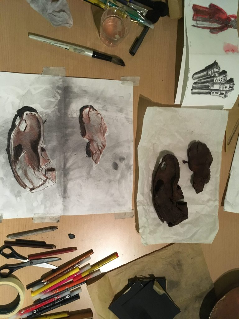 Remains of Shoe found in bog with drawing
