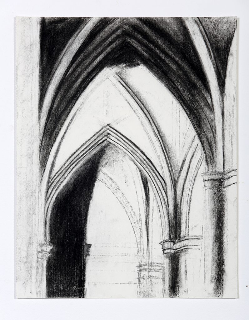 drawing arches church interior