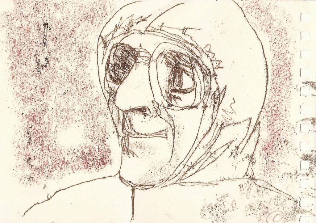 drawing of man's head