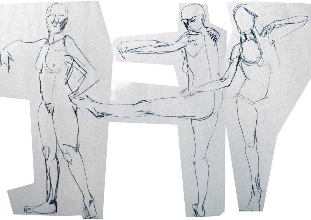 drawing three figures dancing