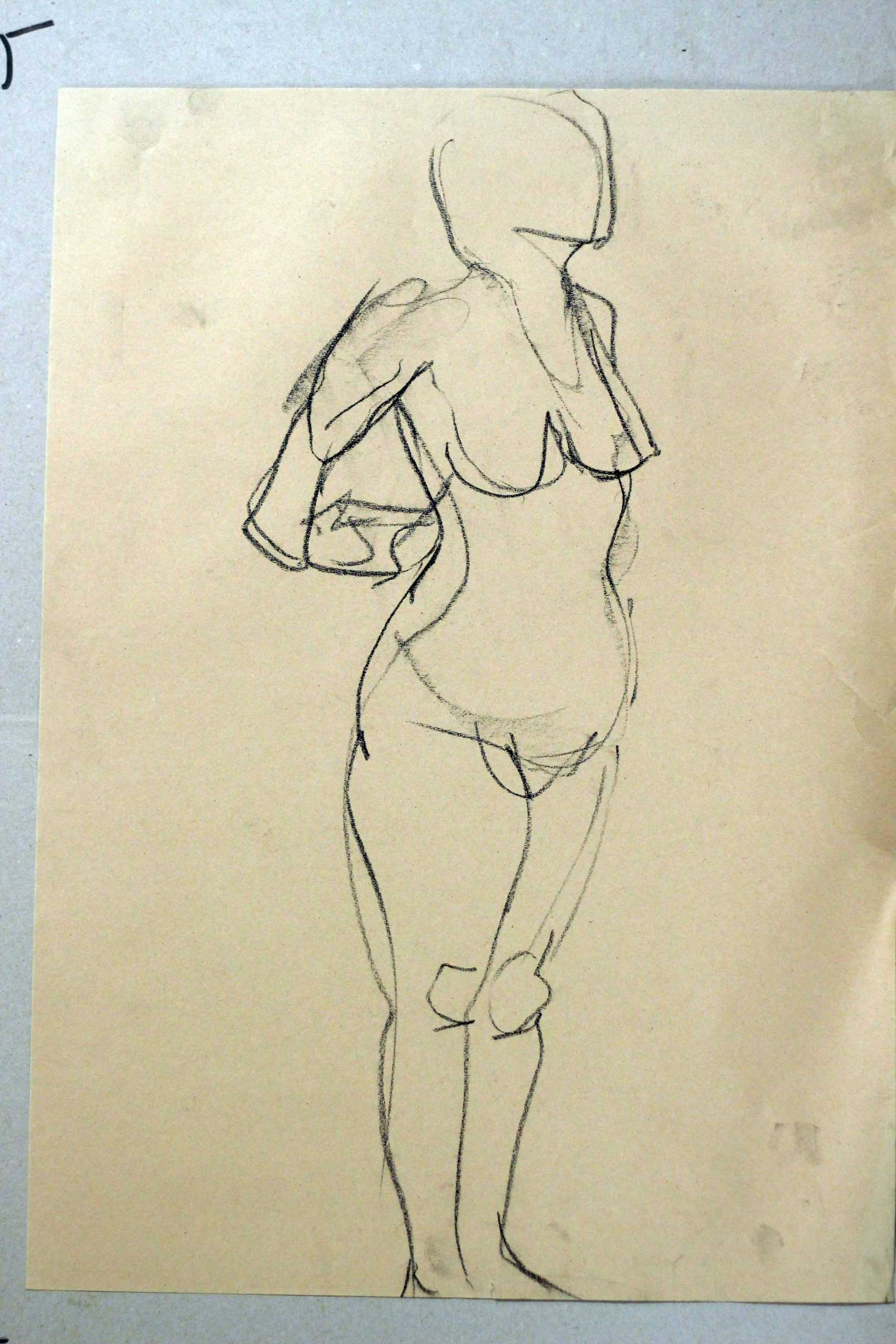 figure drawing woman standing stretching