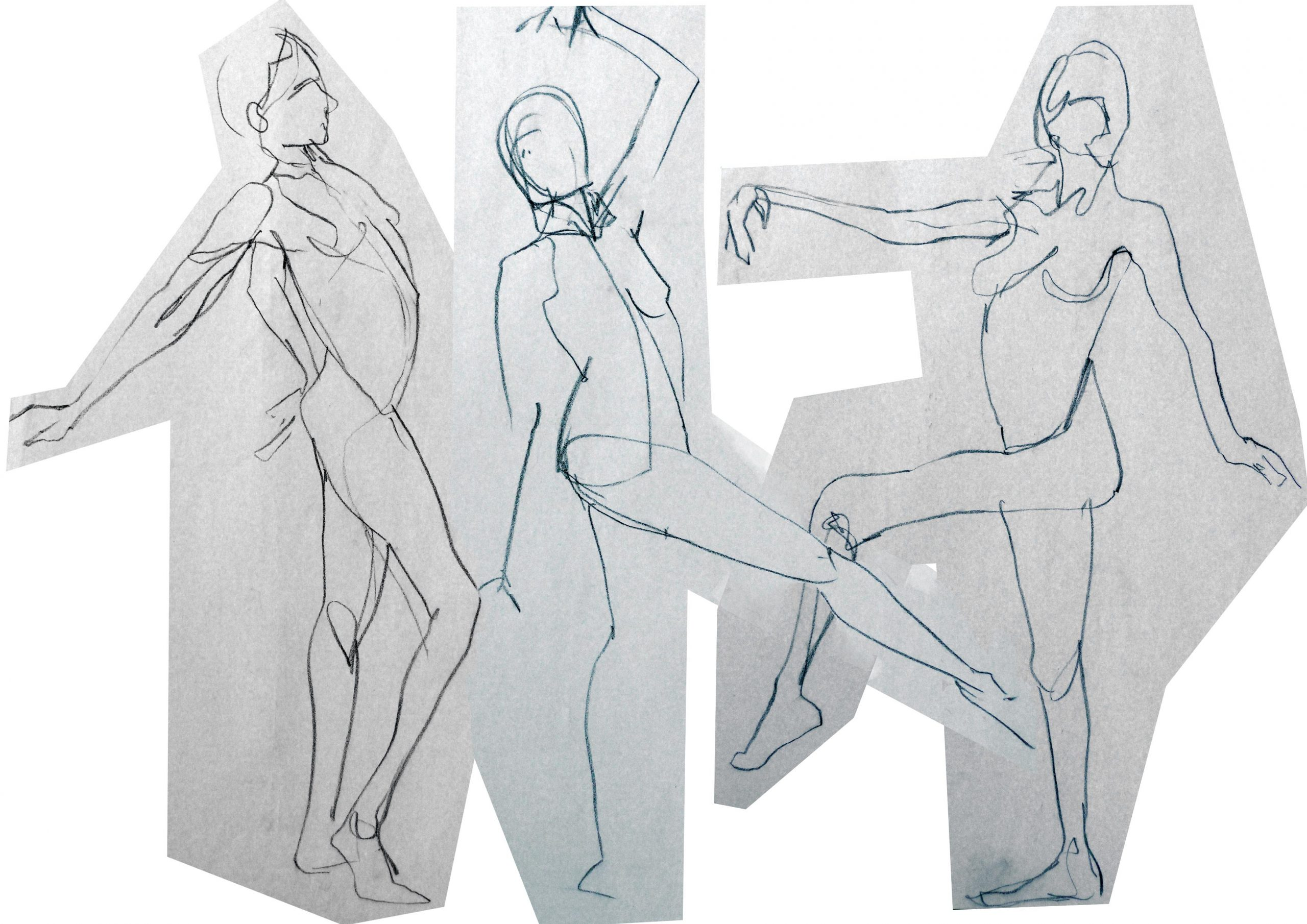 drawing three figures dancing