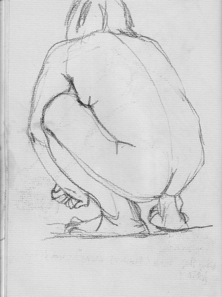 figure drawing of a man crouching