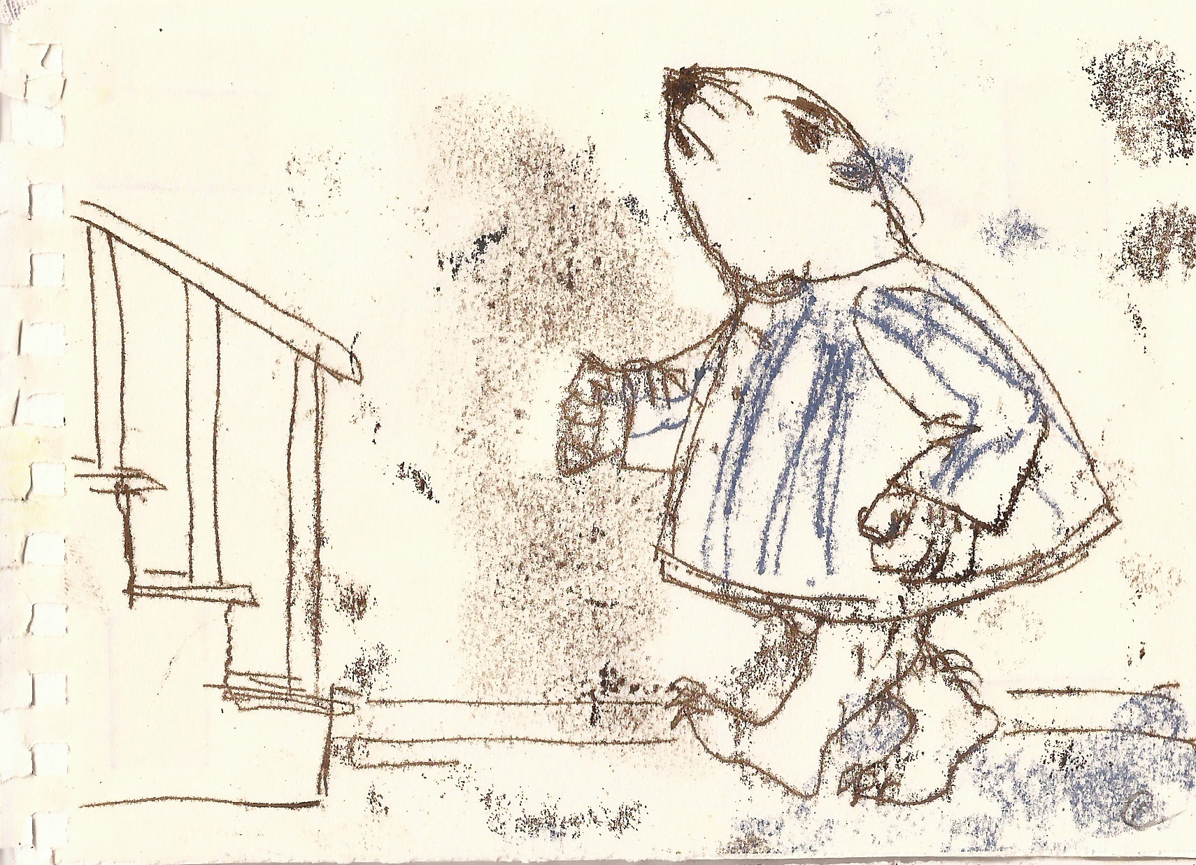drawing of a rodent walking towards stairs