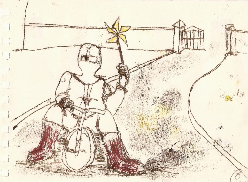 drawing of masked figure on tricycle