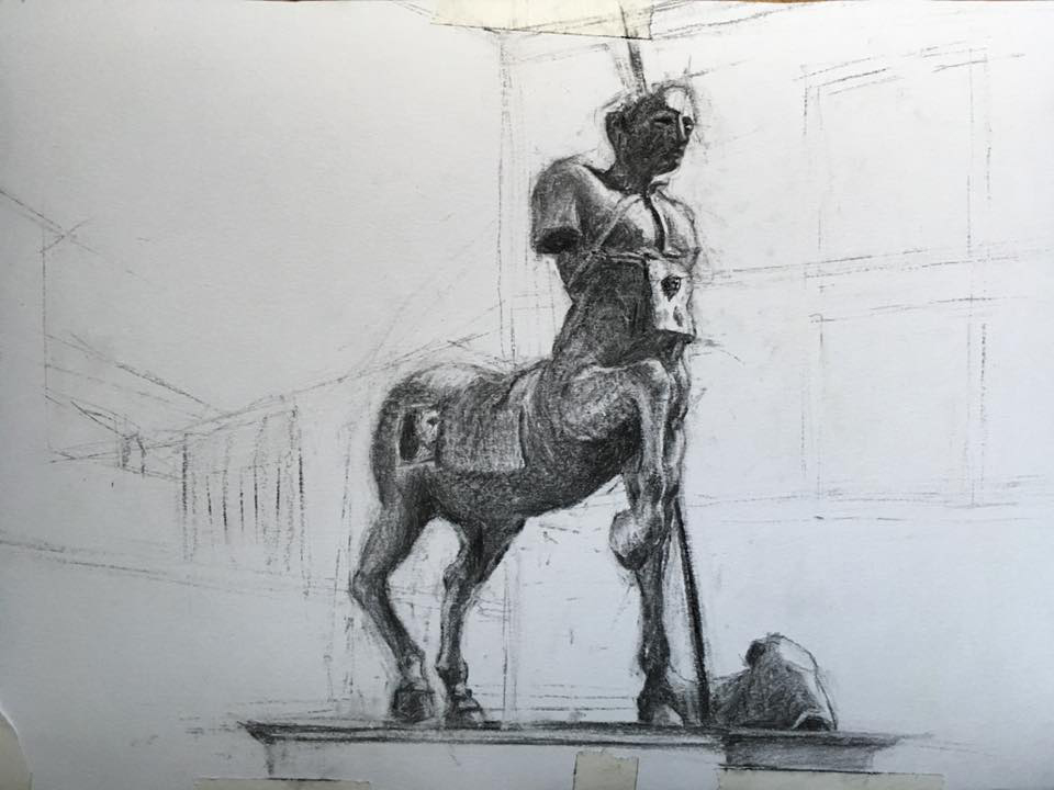 drawing of sculpture of centaur by Mitoraj