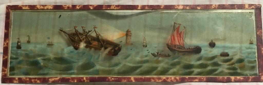 Slide of seascape from Victorian Magic lantern