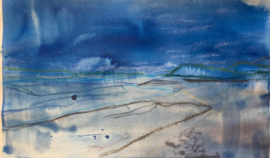 Watercolour and chalk sketch of rain in County Clare