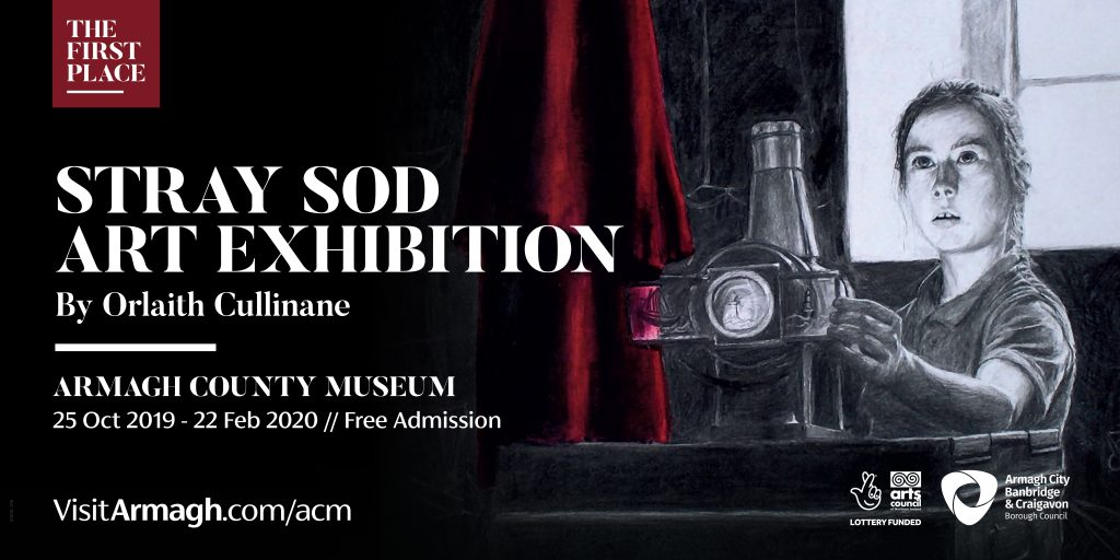 Poster for Stray Sod Art Exhibition by Orlaith Cullinane. Armagh County Museum, 25 Oct 2019 - 22 Feb 2020. Charcoal and chalk drawing of girl with Magic Lantern and red cloak.