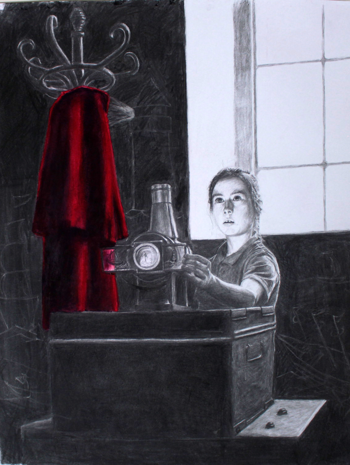 Charcoal and red chalk drawing of girl with magic lantern and red cloak