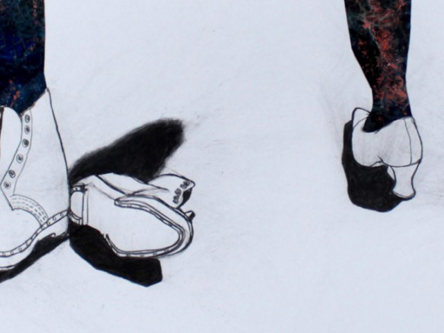 collage and charcoal drawing of pairs of feet in shoes