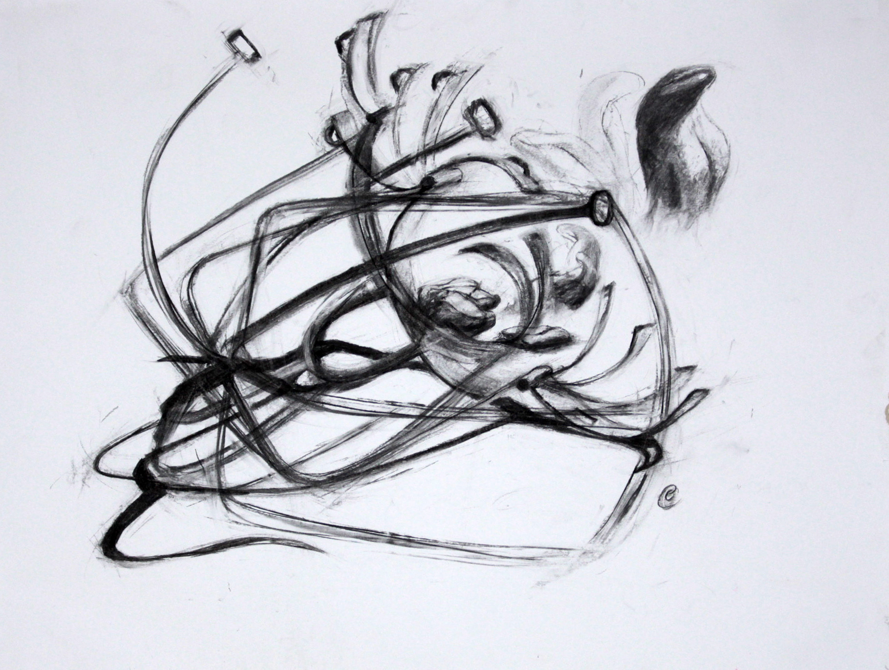 charcoal drawing of scold's bridle, brank and tongue