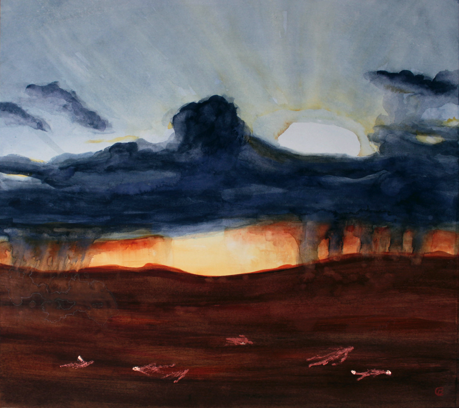 painting with copper leaf of sunset bog scene with bog bodies
