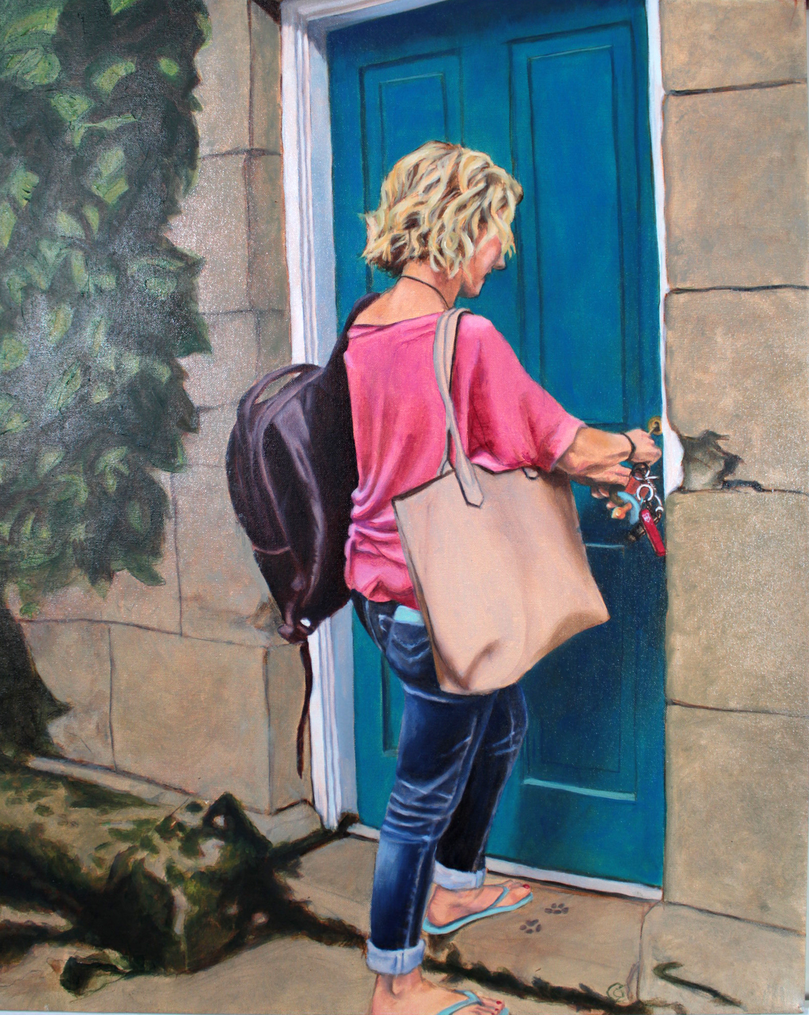 chatelaine oil painting of a woman with keyring unlocking or locking door