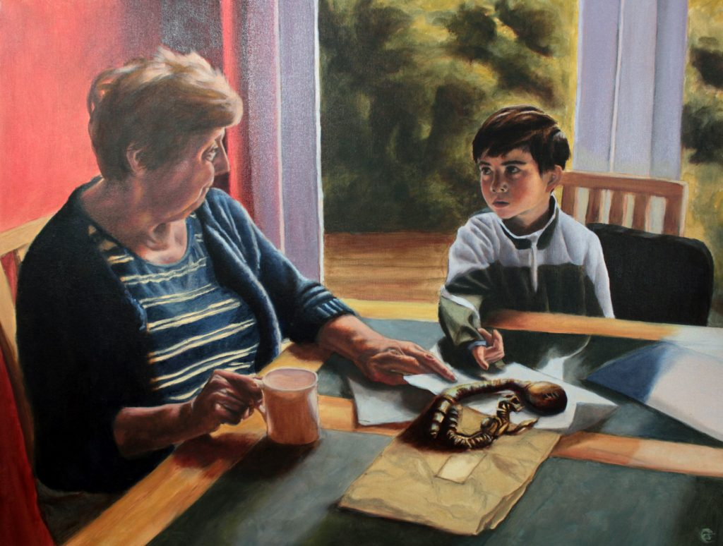 oil painting of boy and woman sitting at table looking at a cosh weapon