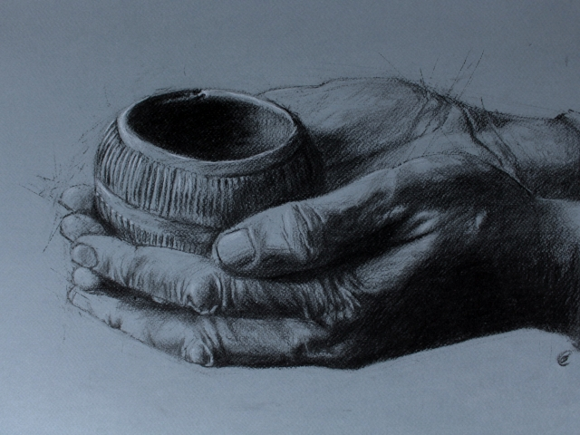 charcoal drawing on toned paper of man's hands holding bronze age clay bowl pygmy vessel