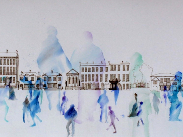 long drawing in pen and chalk of buildings and people silhouettes